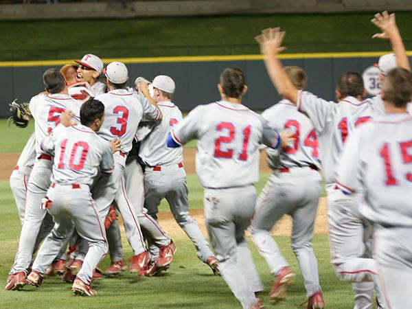The Cougars celebrate after clinching the Class 4A baseball title.