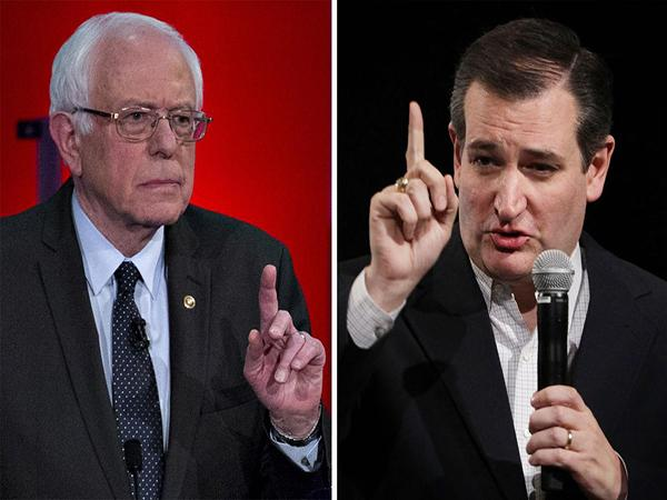 (L-R) Senator Bernie Sanders, an independent from Vermont and 2016 Democratic presidential candidate; Republican presidential candidate Sen. Ted Cruz