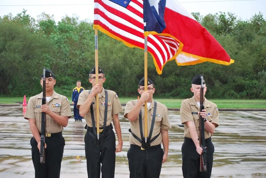 NJROTC practices for Patriotic Show.