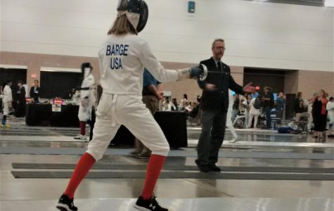 Student shows interest in an outside school sport, fencing.