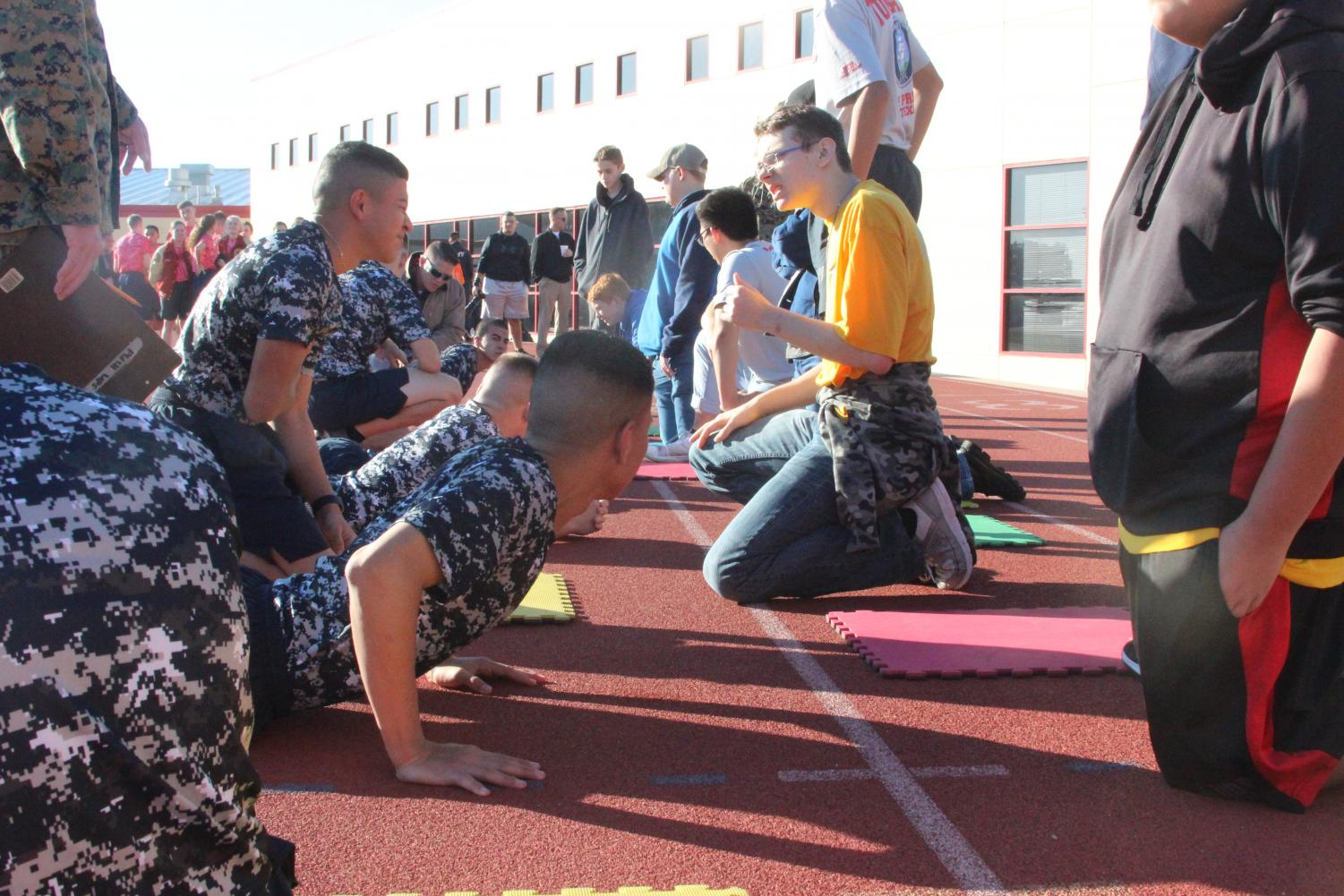 There are many different parts of an ROTC competition, including PT (physical training), as shown above.