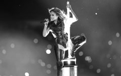 Jennifer Lopez performs at halftime of the Super Bowl
