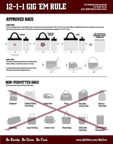 Kyle Field has restrictions on bags entering the stadium. Bring your items in a clear plastic bag.