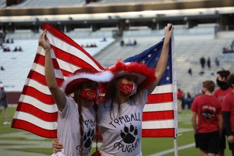 Members of the yell leaders have fun before the annual Patriotic Show.