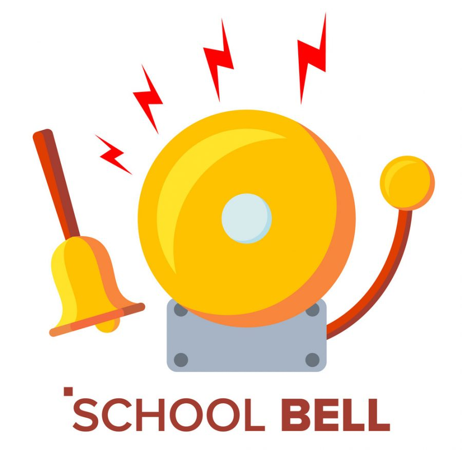 School Bell, Ring Vector. Ringing Classic Electric Bell And Hand Gold Metal Ring Isolated Flat Cartoon Illustration