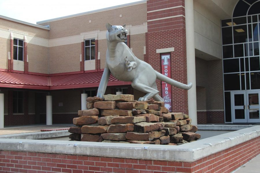 The Cougar statue in front of the school, in place since the 1990s, will soon be replaced by a new statue.